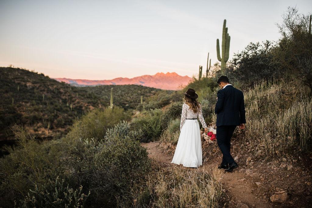Bright Colorful Desert Oasis Elopement Arizona Long Sleeve Lace Wedding Dress Aimee Flynn Photo11