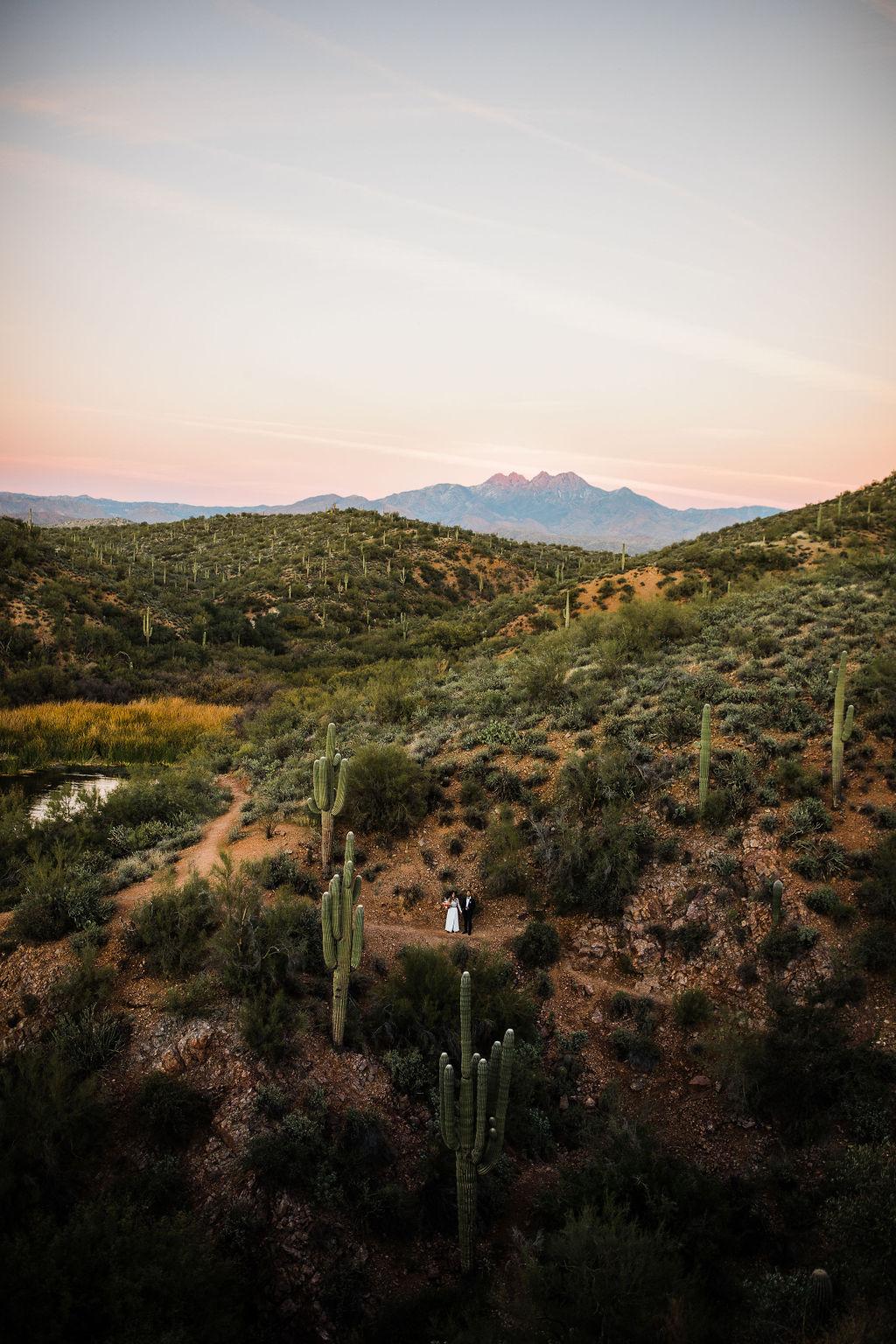 Bright Colorful Desert Oasis Elopement Arizona Long Sleeve Lace Wedding Dress Aimee Flynn Photo12