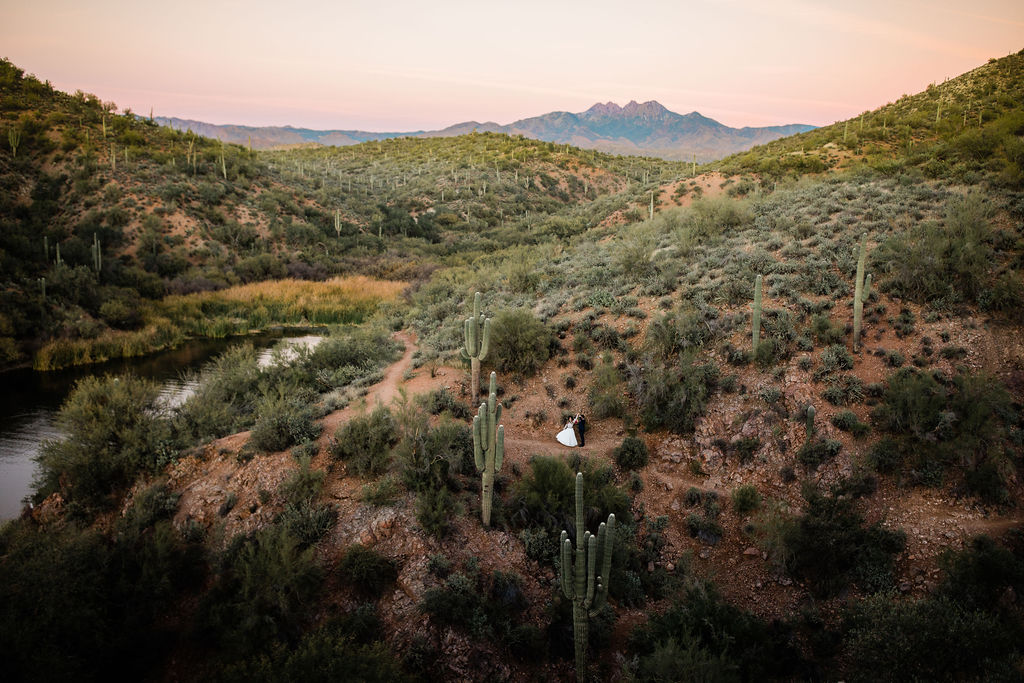 Bright Colorful Desert Oasis Elopement Arizona Long Sleeve Lace Wedding Dress Aimee Flynn Photo13