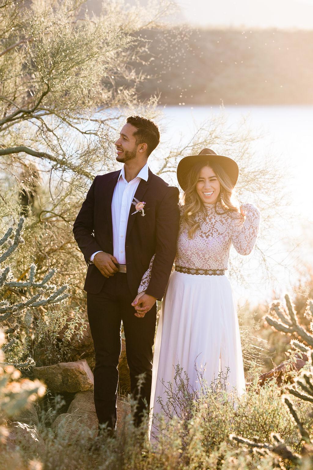 Bright Colorful Desert Oasis Elopement Arizona Long Sleeve Lace Wedding Dress Aimee Flynn Photo14