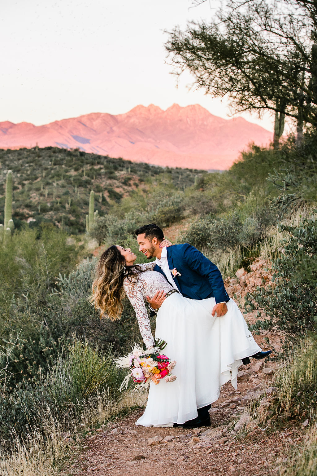 Bright Colorful Desert Oasis Elopement Arizona Long Sleeve Lace Wedding Dress Aimee Flynn Photo16