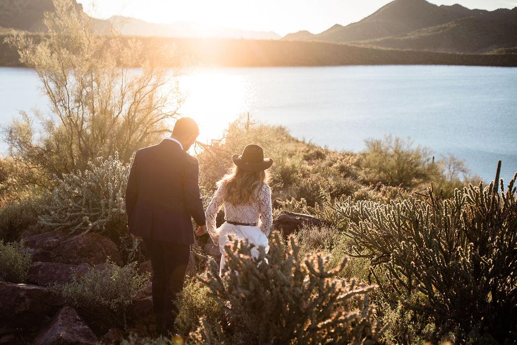 Bright Colorful Desert Oasis Elopement Arizona Long Sleeve Lace Wedding Dress Aimee Flynn Photo17