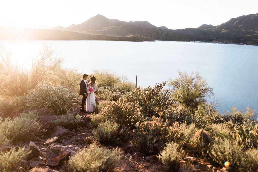Bright Colorful Desert Oasis Elopement Arizona Long Sleeve Lace Wedding Dress Aimee Flynn Photo2