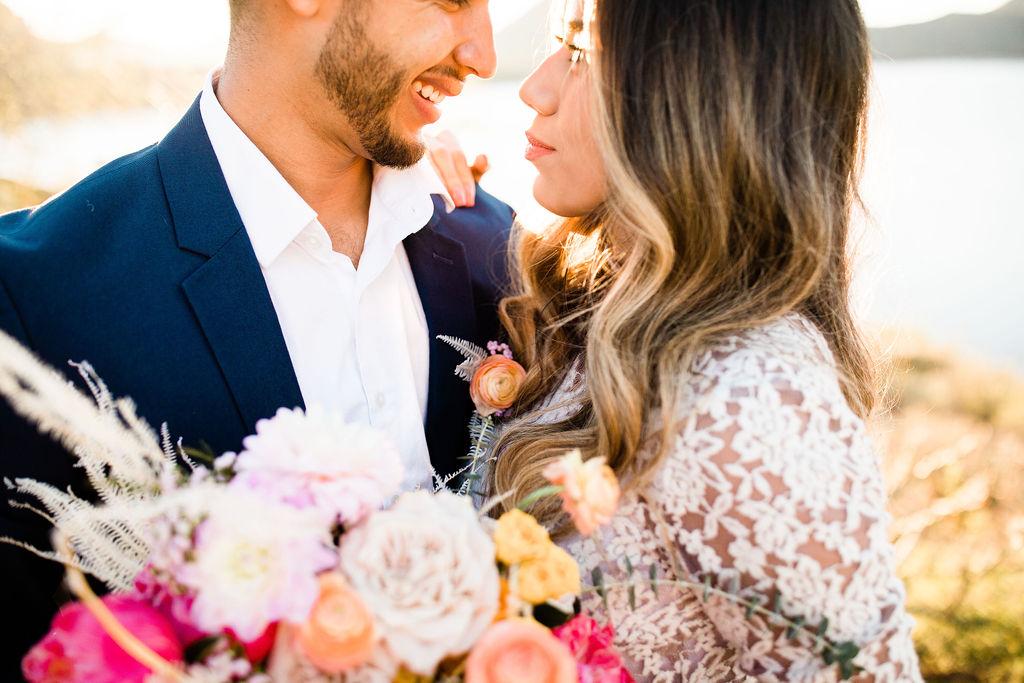 Bright Colorful Desert Oasis Elopement Arizona Long Sleeve Lace Wedding Dress Aimee Flynn Photo3