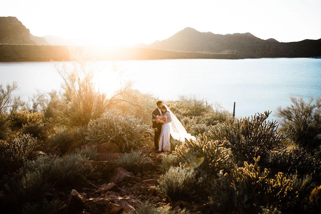 Bright Colorful Desert Oasis Elopement Arizona Long Sleeve Lace Wedding Dress Aimee Flynn Photo4