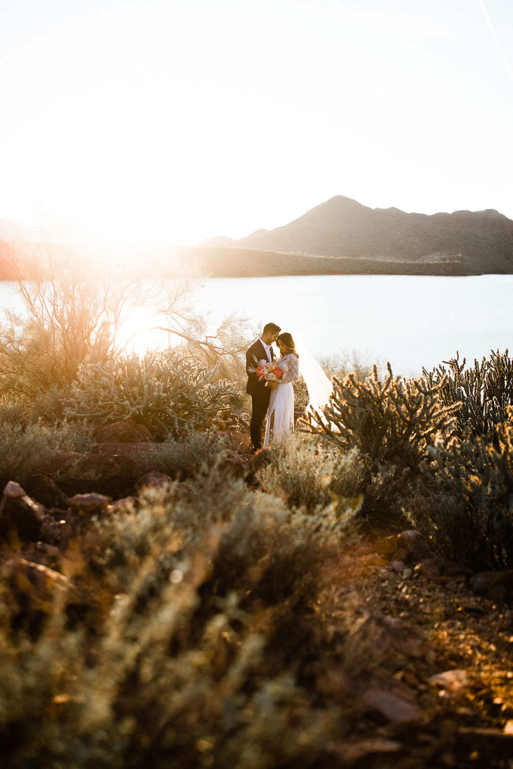 Bright Colorful Desert Oasis Elopement Arizona Long Sleeve Lace Wedding Dress Aimee Flynn Photo5