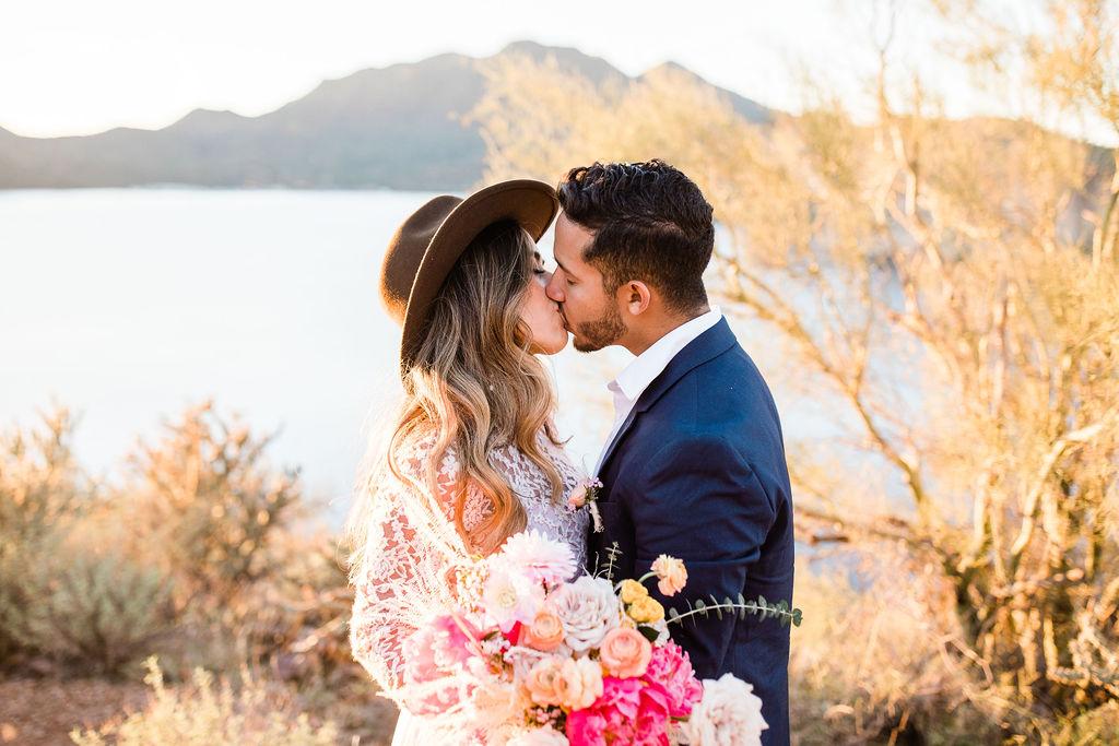 Bright Colorful Desert Oasis Elopement Arizona Long Sleeve Lace Wedding Dress Aimee Flynn Photo6
