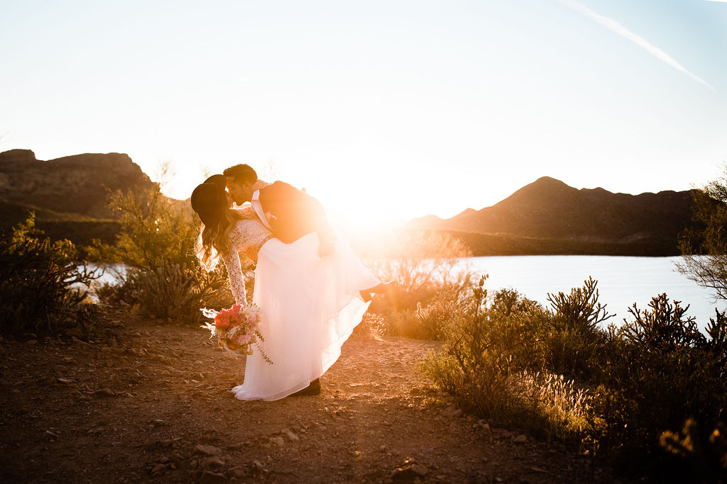 Bright Colorful Desert Oasis Elopement Arizona Long Sleeve Lace Wedding Dress Aimee Flynn Photo7