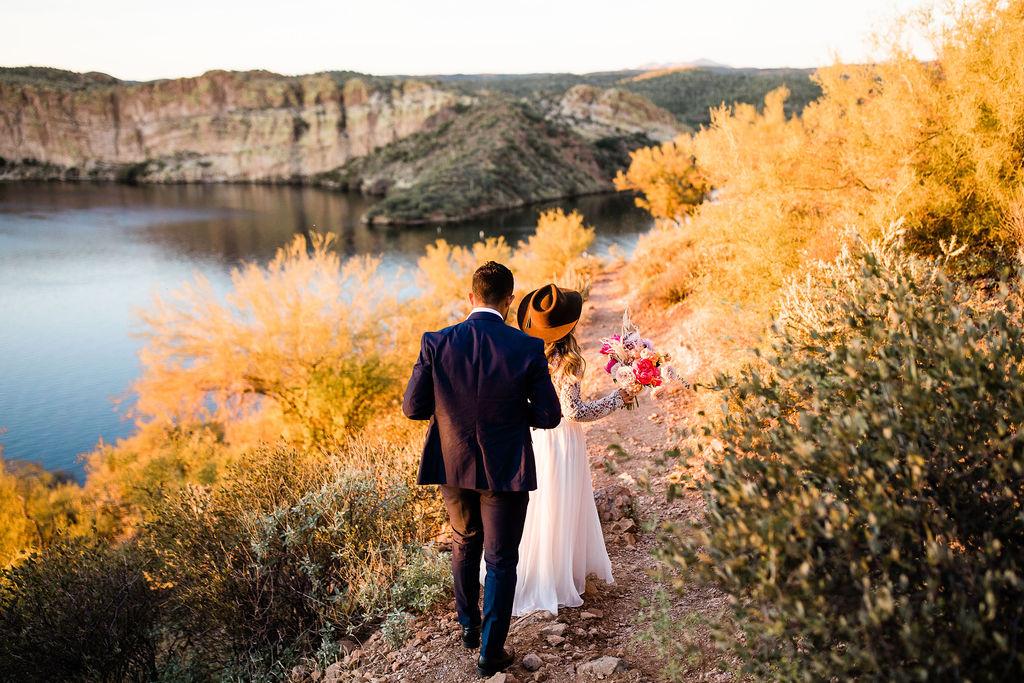 Bright Colorful Desert Oasis Elopement Arizona Long Sleeve Lace Wedding Dress Aimee Flynn Photo8