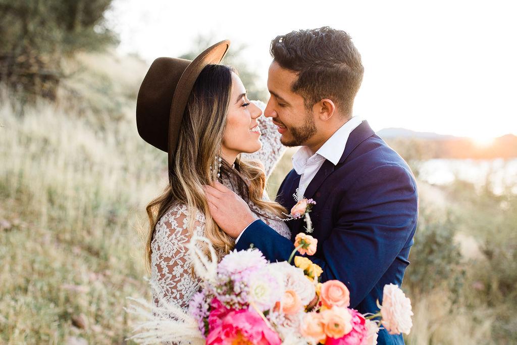 Bright Colorful Desert Oasis Elopement Arizona Long Sleeve Lace Wedding Dress Aimee Flynn Photo9