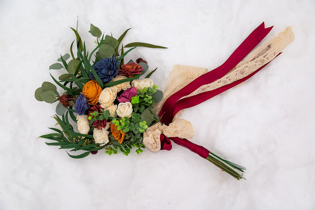 Eco Friendly Wedding Bouquet Faux Flowers Wild Escape Florals Halie West Photography