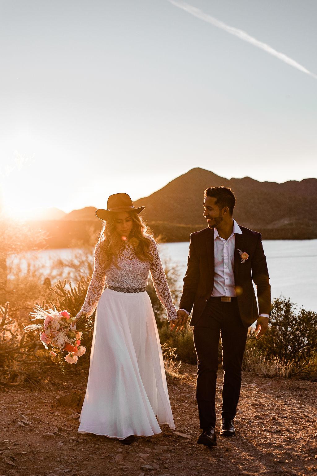 Flowy Boho Long Sleeve Wedding Dress Desert Aimee Flynn Photo