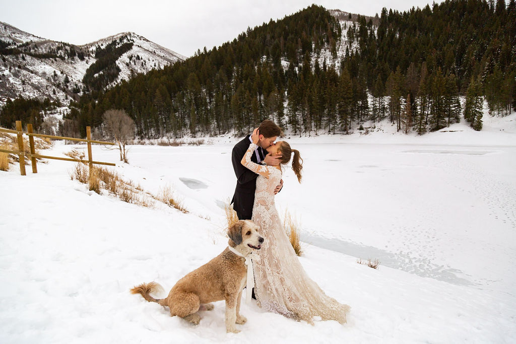 Long Sleeve Lace Wedding Dress Snowy Winter Wasatch Mountains Utah Elopment Halie West Photography 2