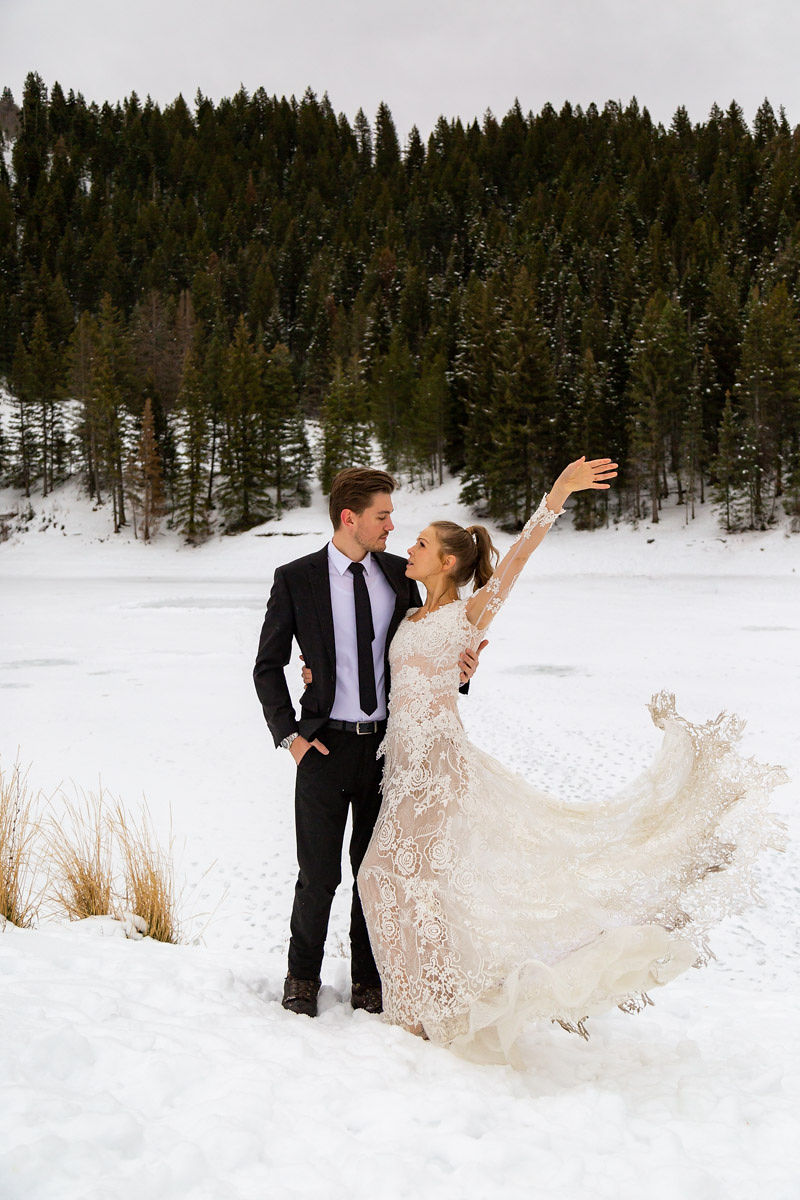 Long Sleeve Lace Wedding Dress Snowy Winter Wasatch Mountains Utah Elopment Halie West Photography 3