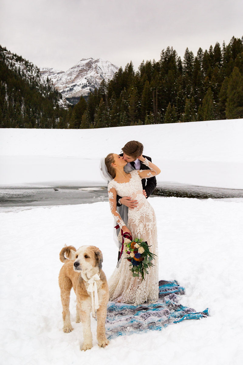Long Sleeve Lace Wedding Dress Snowy Winter Wasatch Mountains Utah Elopment Halie West Photography 5