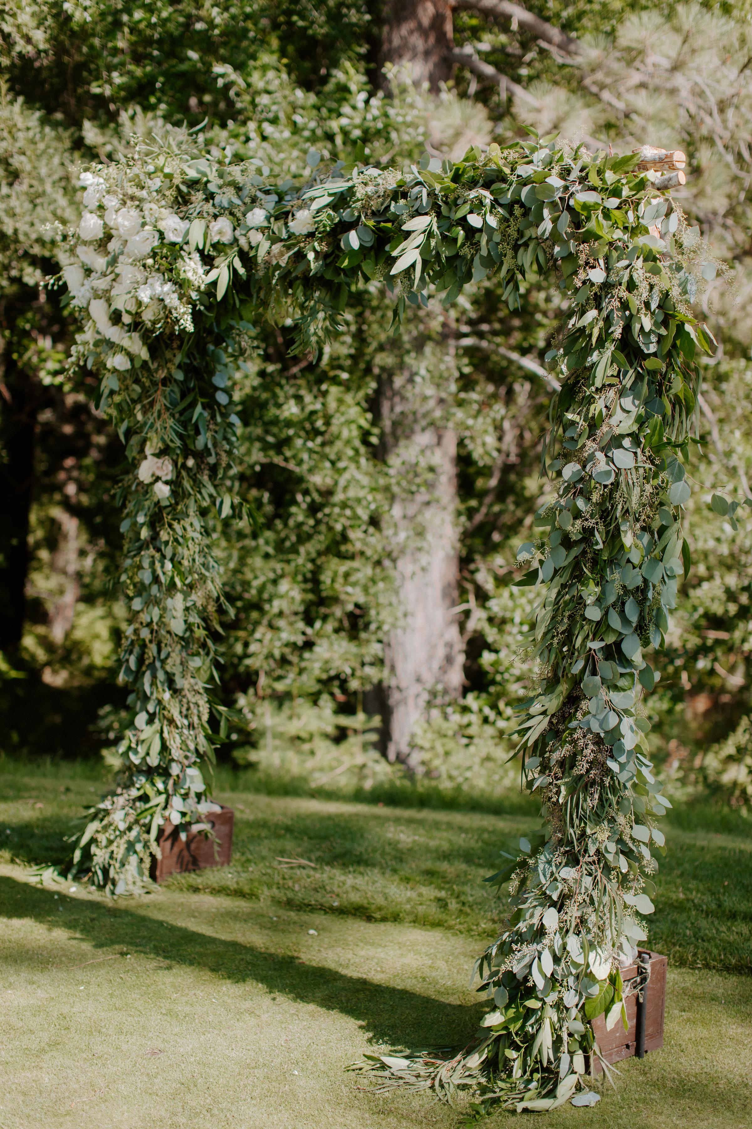 Timeless Wedding Arch Altar Neutral Green White