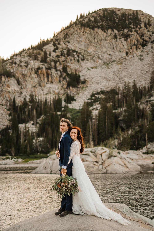 Boho long sleeve wedding dress greenery bouquet Lake Mary Salt Lake City Utah Alexandra Amante Forever To The Moon 3