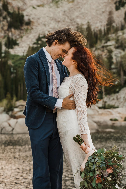 Boho long sleeve wedding dress greenery bouquet Lake Mary Salt Lake City Utah Alexandra Amante Forever To The Moon 5