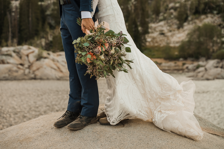 Boho long sleeve wedding dress greenery bouquet Lake Mary Salt Lake City Utah Alexandra Amante Forever To The Moon 6