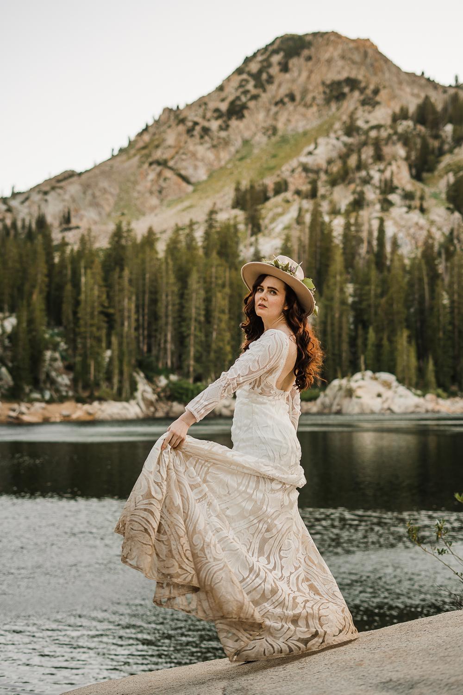 Bridal hat brim boho long sleeve wedding dress Lake Mary Salt Lake City Utah Alexandra Amante Forever To The Moon 1