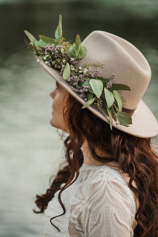 Bridal hat brim boho long sleeve wedding dress Lake Mary Salt Lake City Utah Alexandra Amante Forever To The Moon 10