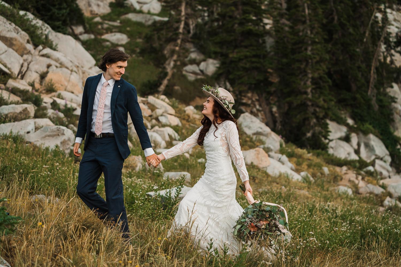 Bridal hat brim boho long sleeve wedding dress Lake Mary Salt Lake City Utah Alexandra Amante Forever To The Moon 11