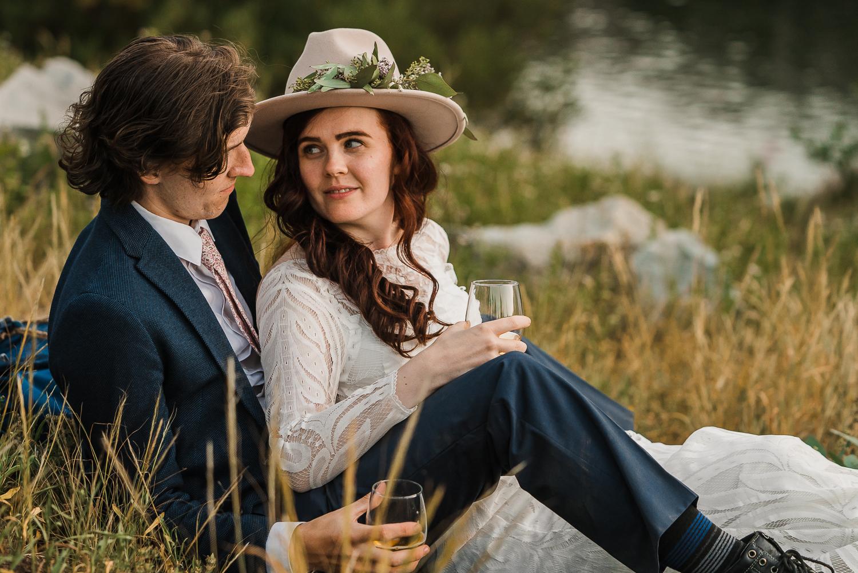 Bridal hat brim boho long sleeve wedding dress Lake Mary Salt Lake City Utah Alexandra Amante Forever To The Moon 12