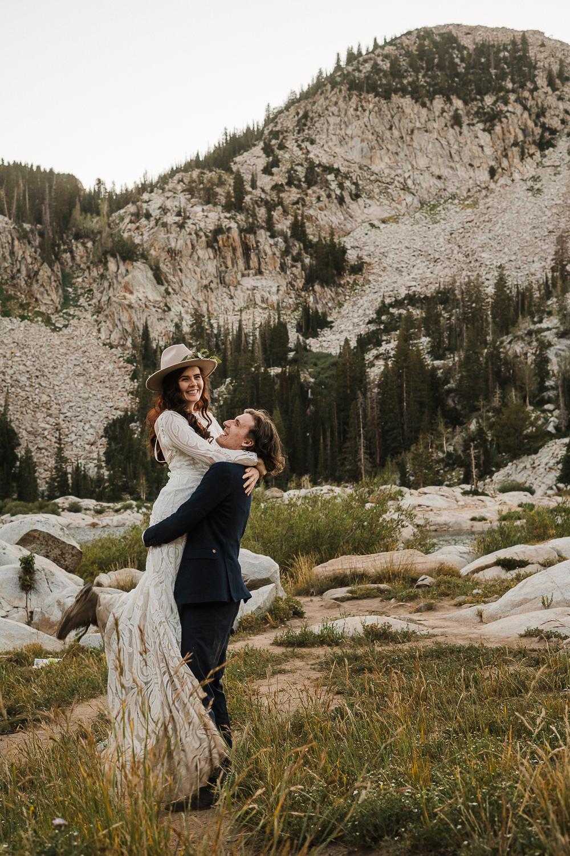 Bridal hat brim boho long sleeve wedding dress Lake Mary Salt Lake City Utah Alexandra Amante Forever To The Moon 6