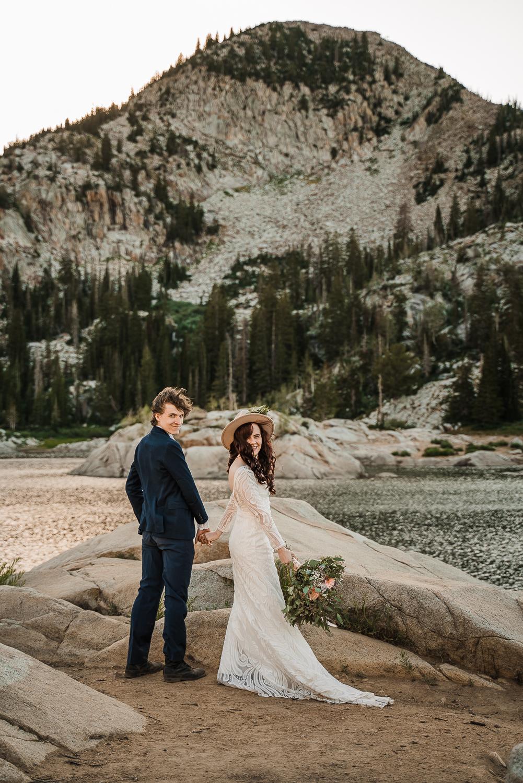 Bridal hat brim boho long sleeve wedding dress Lake Mary Salt Lake City Utah Alexandra Amante Forever To The Moon 7
