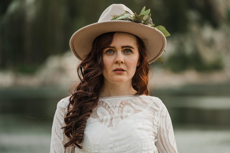 Bridal hat brim boho long sleeve wedding dress Lake Mary Salt Lake City Utah Alexandra Amante Forever To The Moon 8