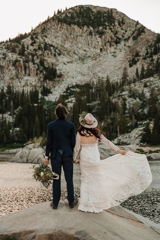 Bridal hat brim boho long sleeve wedding dress Lake Mary Salt Lake City Utah Alexandra Amante Forever To The Moon 9