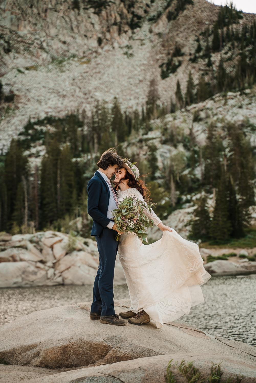 Lake Mary Salt Lake City Utah Hiking Elopement Alexandra Amante Forever To The Moon Boho Long Sleeve Wedding Dress 12