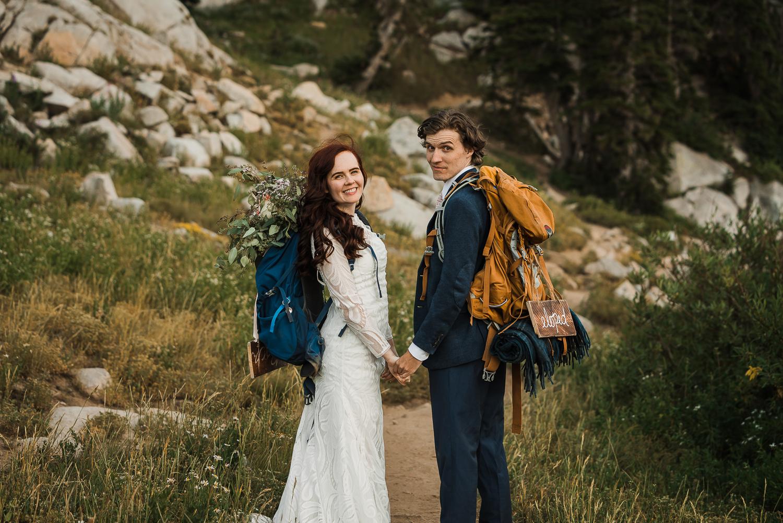 Lake Mary Salt Lake City Utah Hiking Elopement Alexandra Amante Forever To The Moon Boho Long Sleeve Wedding Dress 15