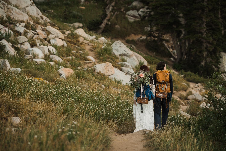 Lake Mary Salt Lake City Utah Hiking Elopement Alexandra Amante Forever To The Moon Boho Long Sleeve Wedding Dress 16