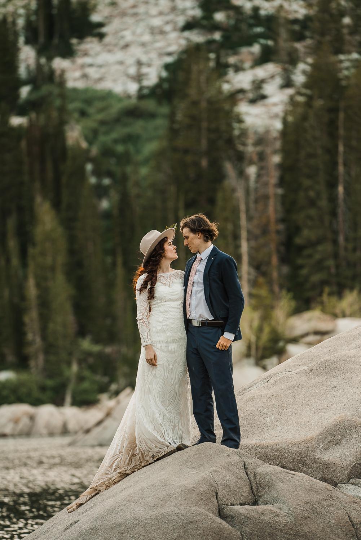 Lake Mary Salt Lake City Utah Hiking Elopement Alexandra Amante Forever To The Moon Boho Long Sleeve Wedding Dress 19