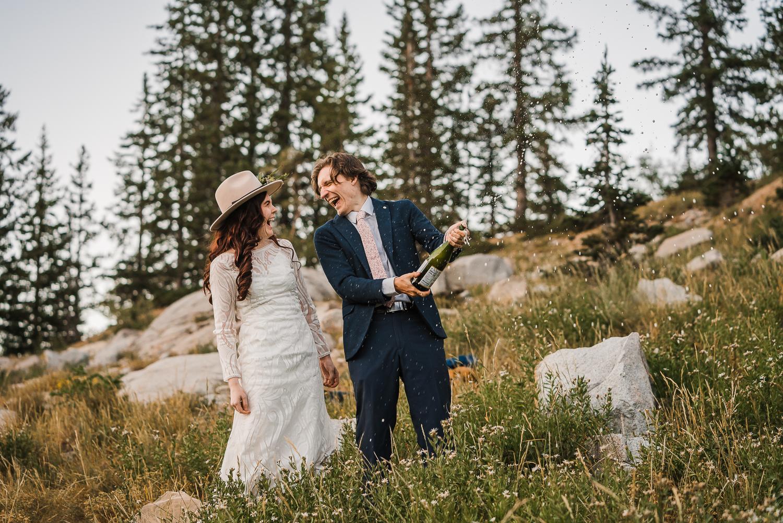 Lake Mary Salt Lake City Utah Hiking Elopement Alexandra Amante Forever To The Moon Boho Long Sleeve Wedding Dress 23