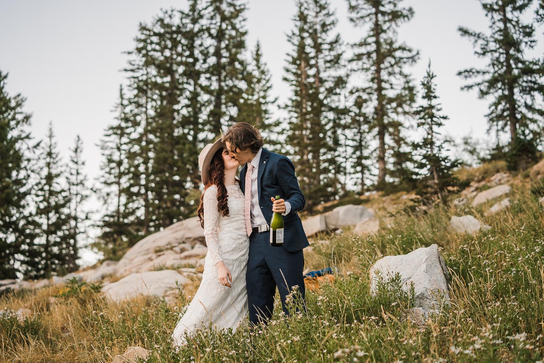 Lake Mary Salt Lake City Utah Hiking Elopement Alexandra Amante Forever To The Moon Boho Long Sleeve Wedding Dress 24