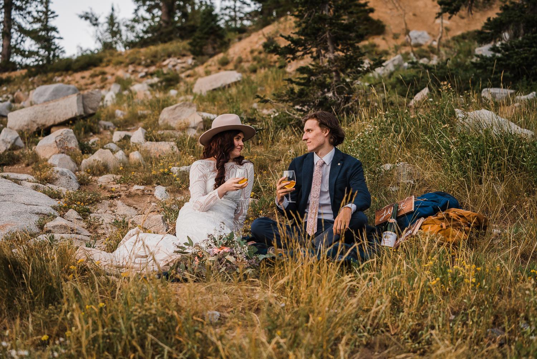 Lake Mary Salt Lake City Utah Hiking Elopement Alexandra Amante Forever To The Moon Boho Long Sleeve Wedding Dress 25