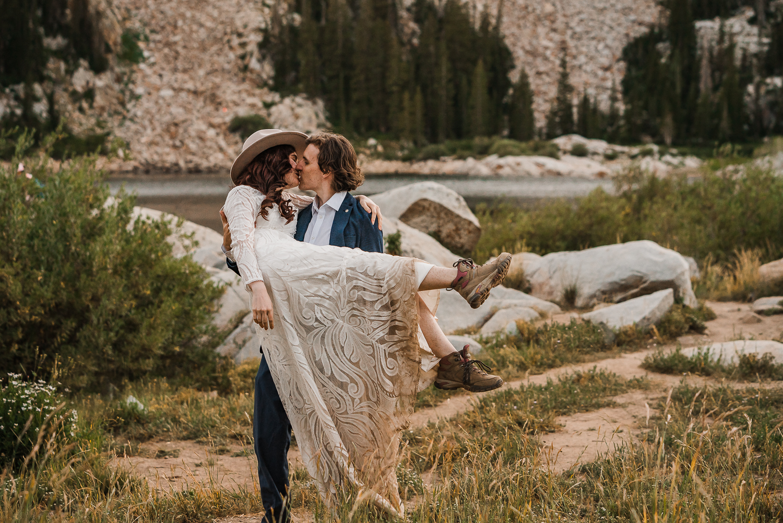 Lake Mary Salt Lake City Utah Hiking Elopement Alexandra Amante Forever To The Moon Boho Long Sleeve Wedding Dress 26