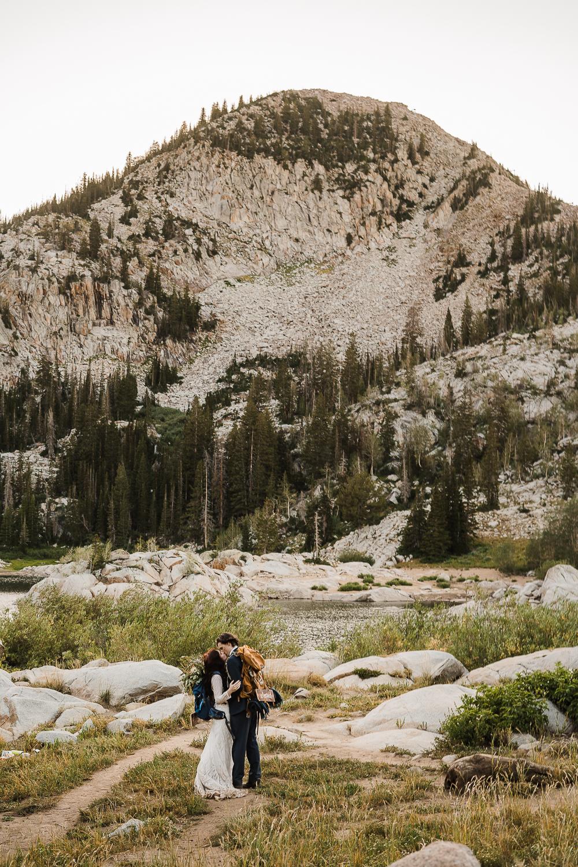 Lake Mary Salt Lake City Utah Hiking Elopement Alexandra Amante Forever To The Moon Boho Long Sleeve Wedding Dress 5