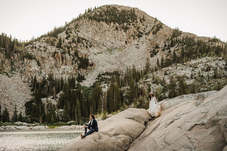 Lake Mary Salt Lake City Utah Hiking Elopement Alexandra Amante Forever To The Moon Boho Long Sleeve Wedding Dress 6