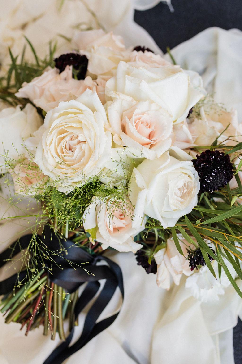 Black And White Bridal Wedding Bouquet Flowers Elizabeth Burgi Photography 1