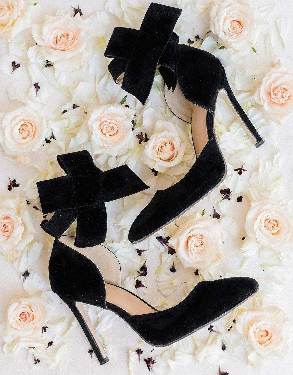 Black Wedding Heels Velvet Bows Elizabeth Burgi Photography