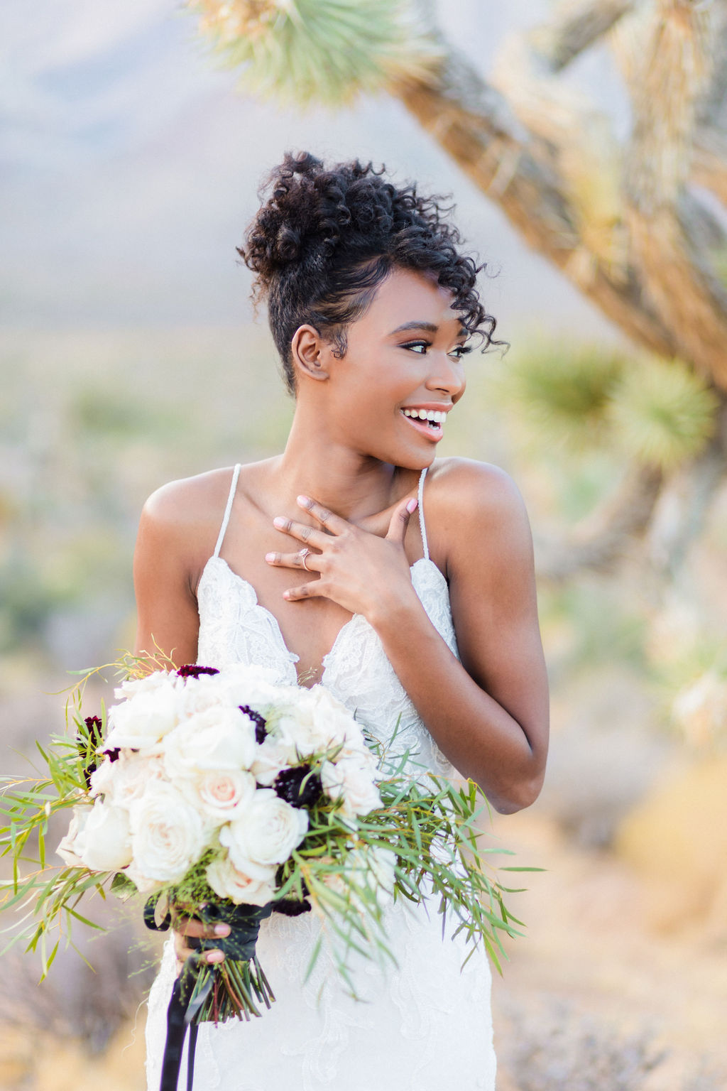 Natural Bridal Makeup Curly Hair Wedding Inspo Black And White Elizabeth Burgi Photography 1
