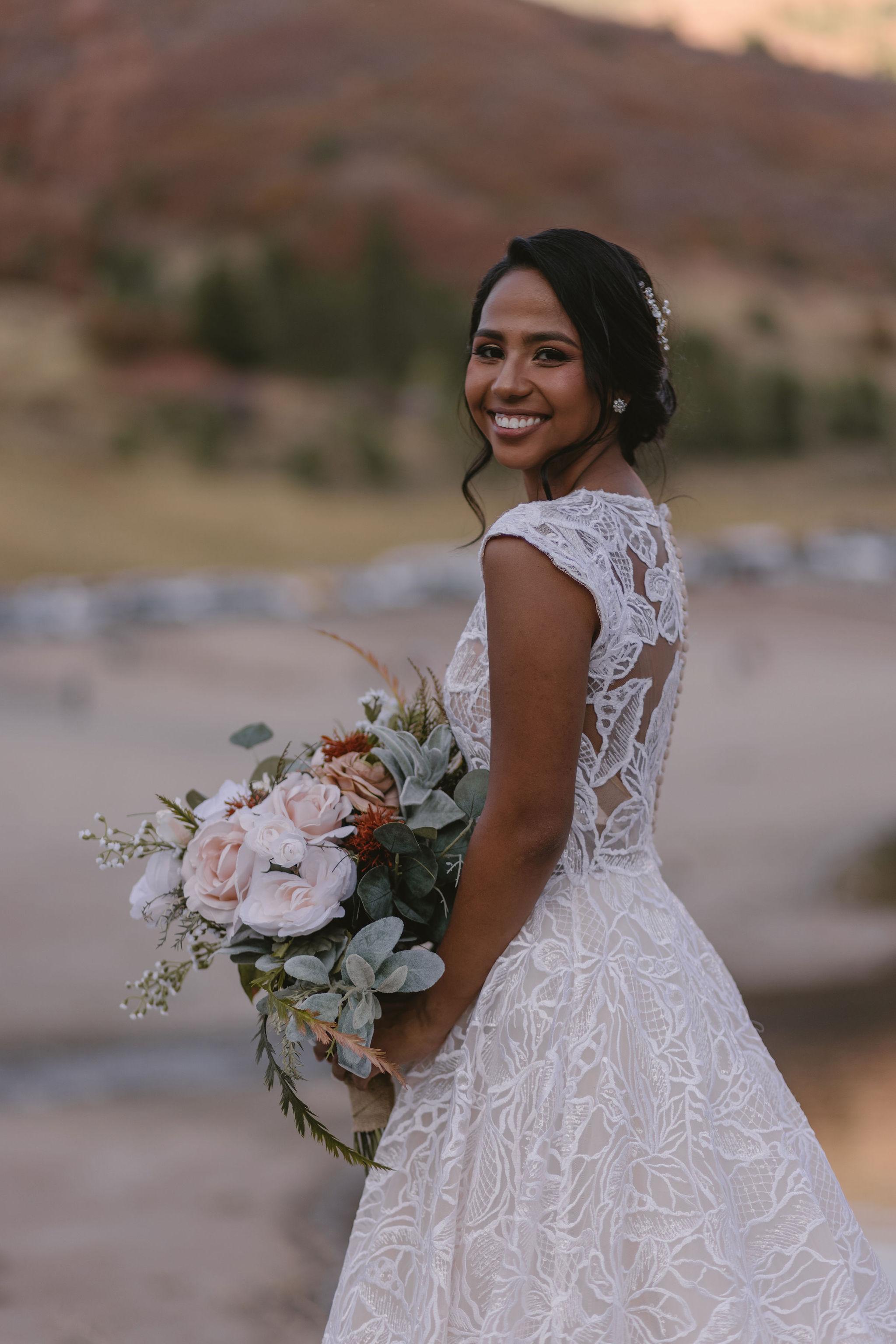 Blush Sage Rose Eucalyptus Wedding Bouquet American Fork Canyon Princess Kaiulani Taberno 3