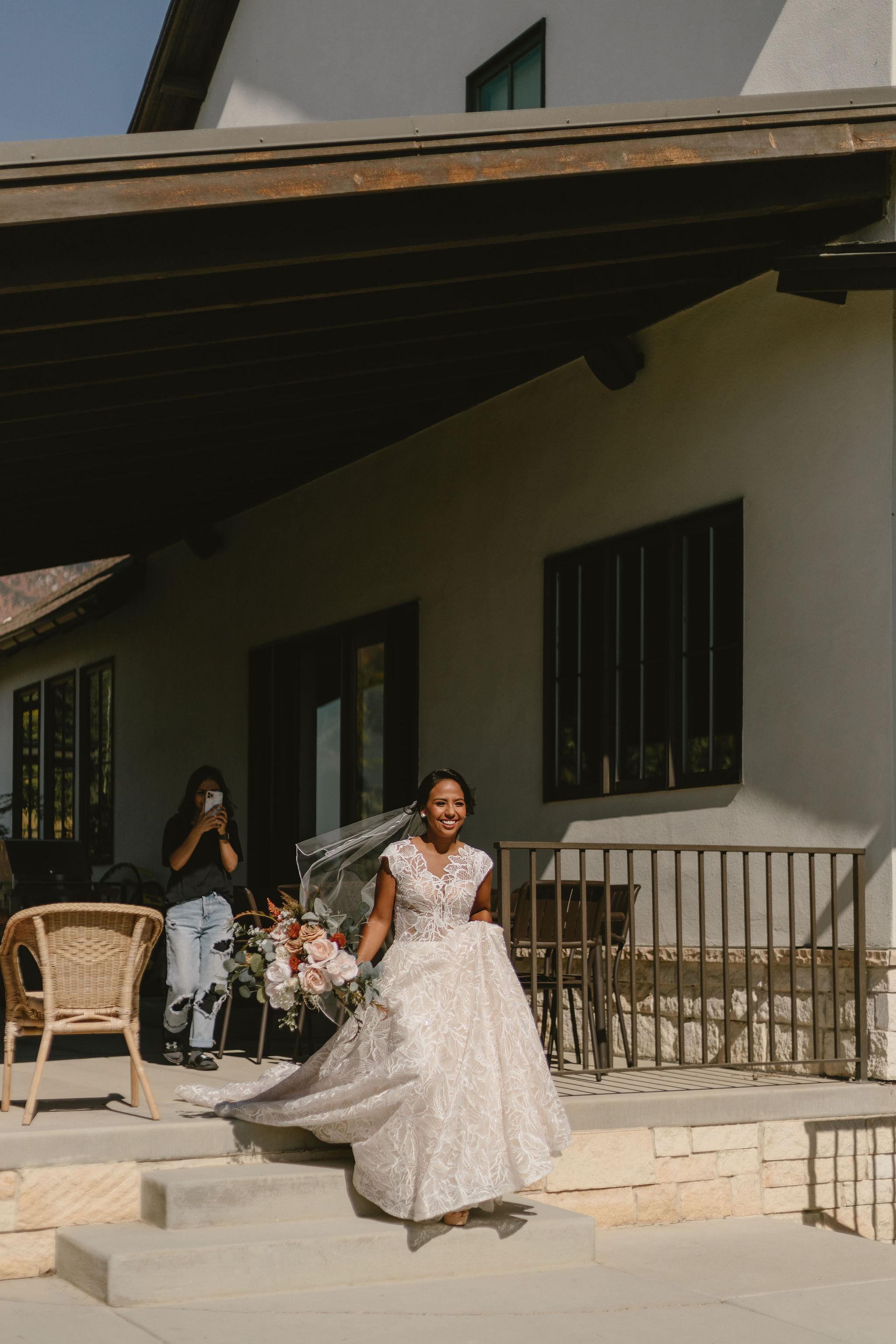 Modest Lace Wedding Dress Ballgown Backyard Summer Wedding Princess Kaiulani Tabernero 2