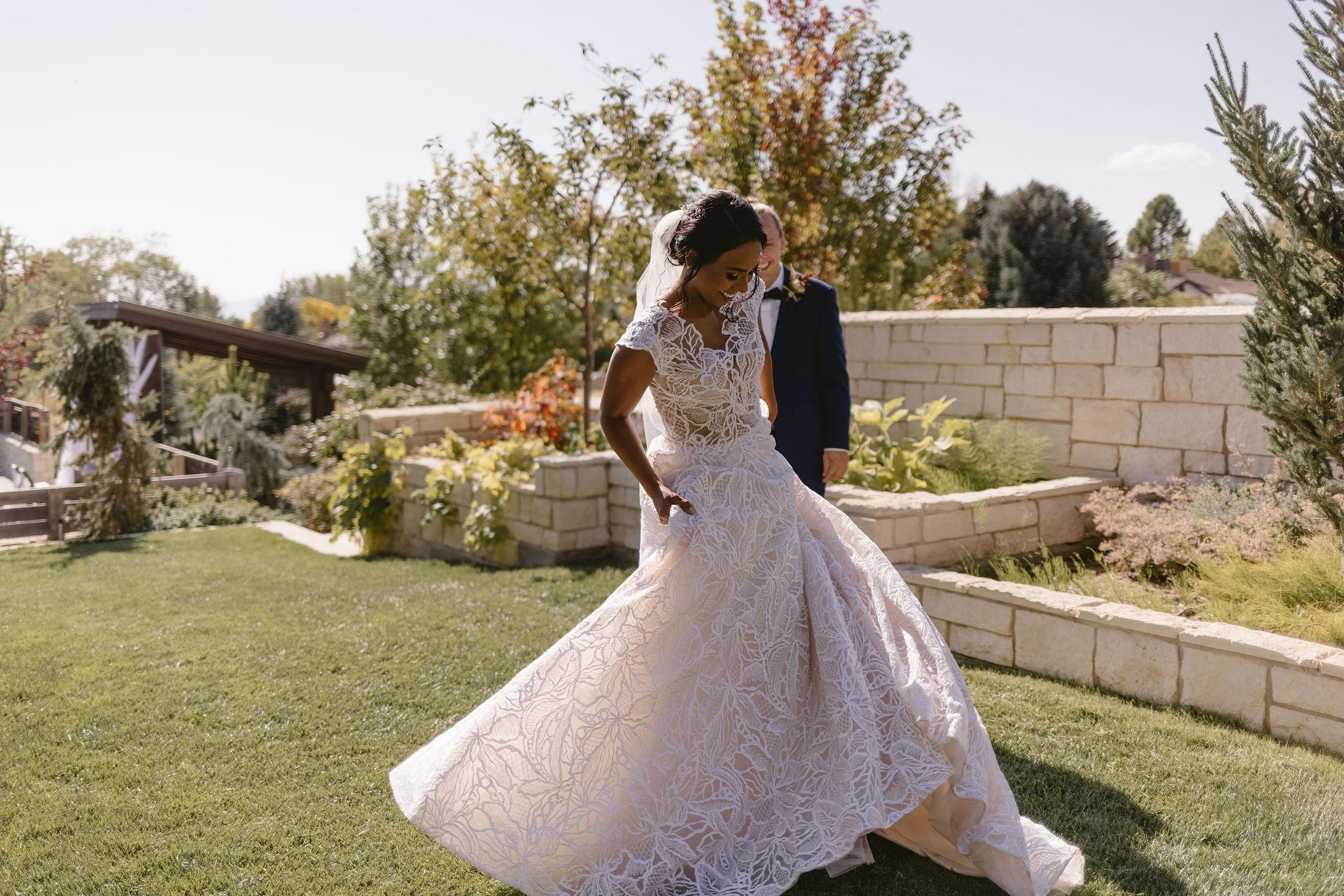 Modest Lace Wedding Dress Ballgown Backyard Summer Wedding Princess Kaiulani Tabernero 4