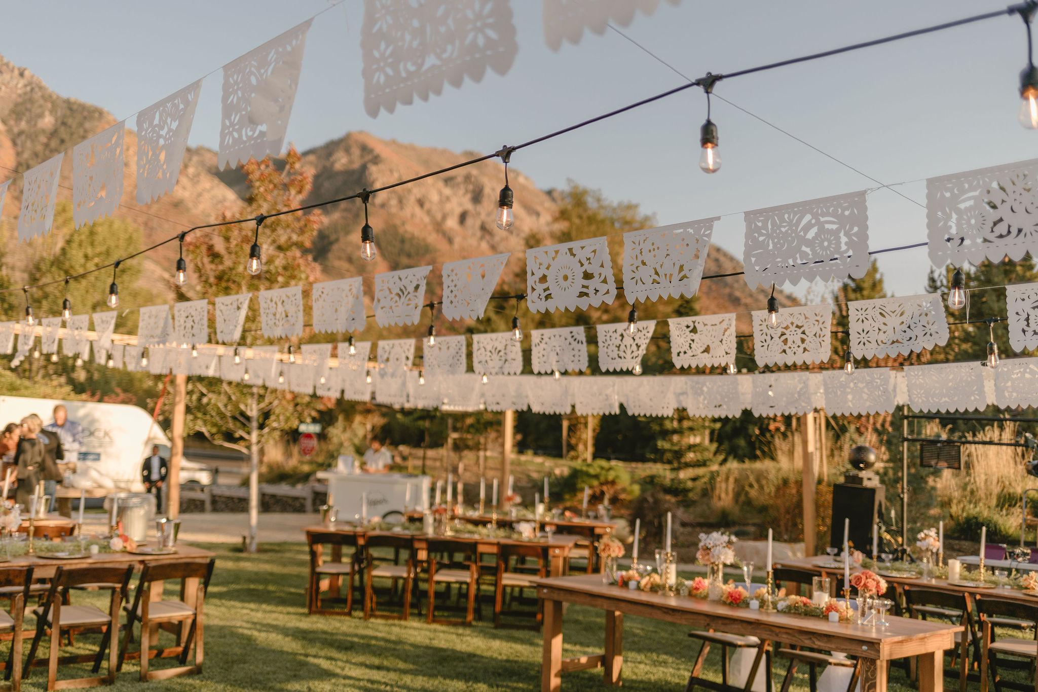Papel Picado Wedding Banners Eco Friendly Backyard Summer Wedding Princess Kaiulani Tabernero 3